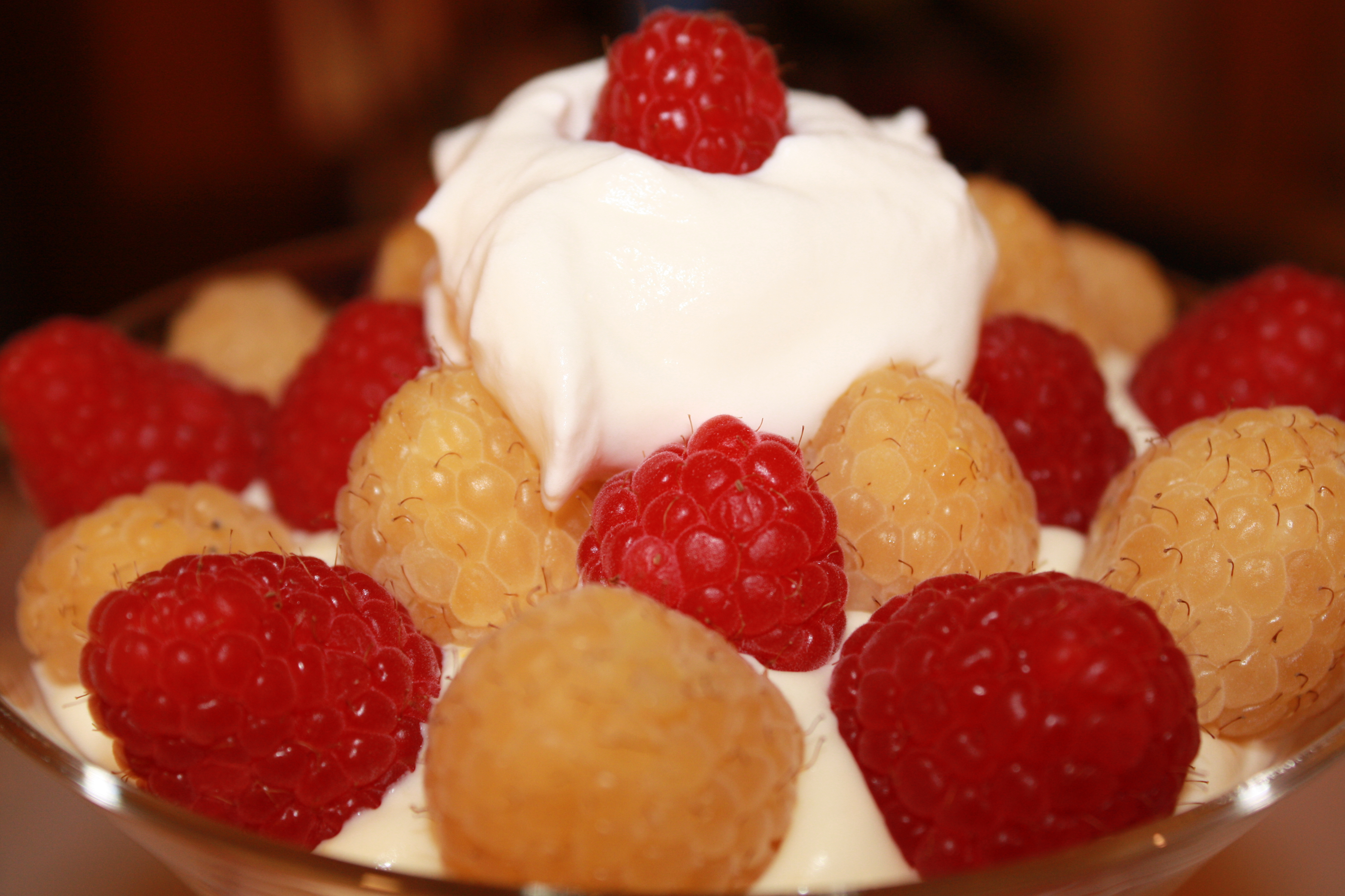 Meyer Lemon Mousse with Raspberries